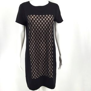 MAGGY LONDON Dress 8 Black Nude Lace Checkerboard